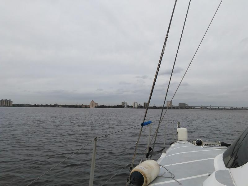 Approaching Jacksonville, with a breeze just starting