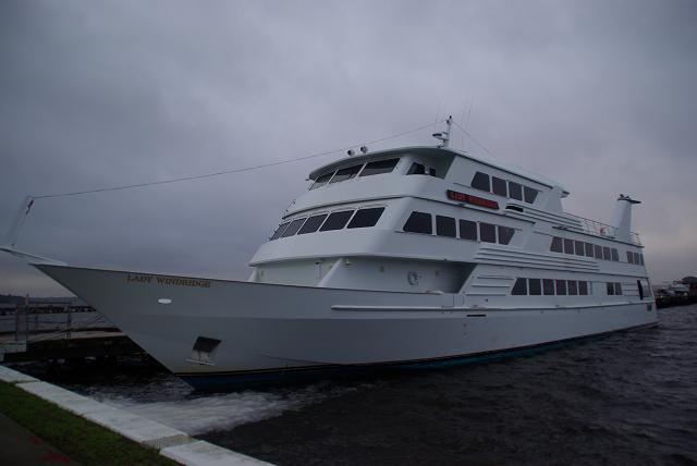 the Lady Windridge, a mega-yacht that has run here from Fort Lauderdale,