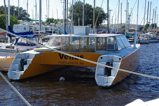 Venus, still attached to her mooring ball